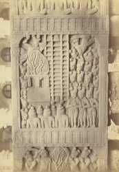 Sculpture piece excavated from the Stupa at Bharhut: close view of middle panel on right side of Ajatachatru pillar